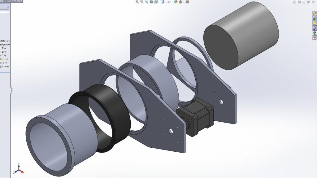 ROCON360 | Explosionsansicht der B-Achse (Entwurf)